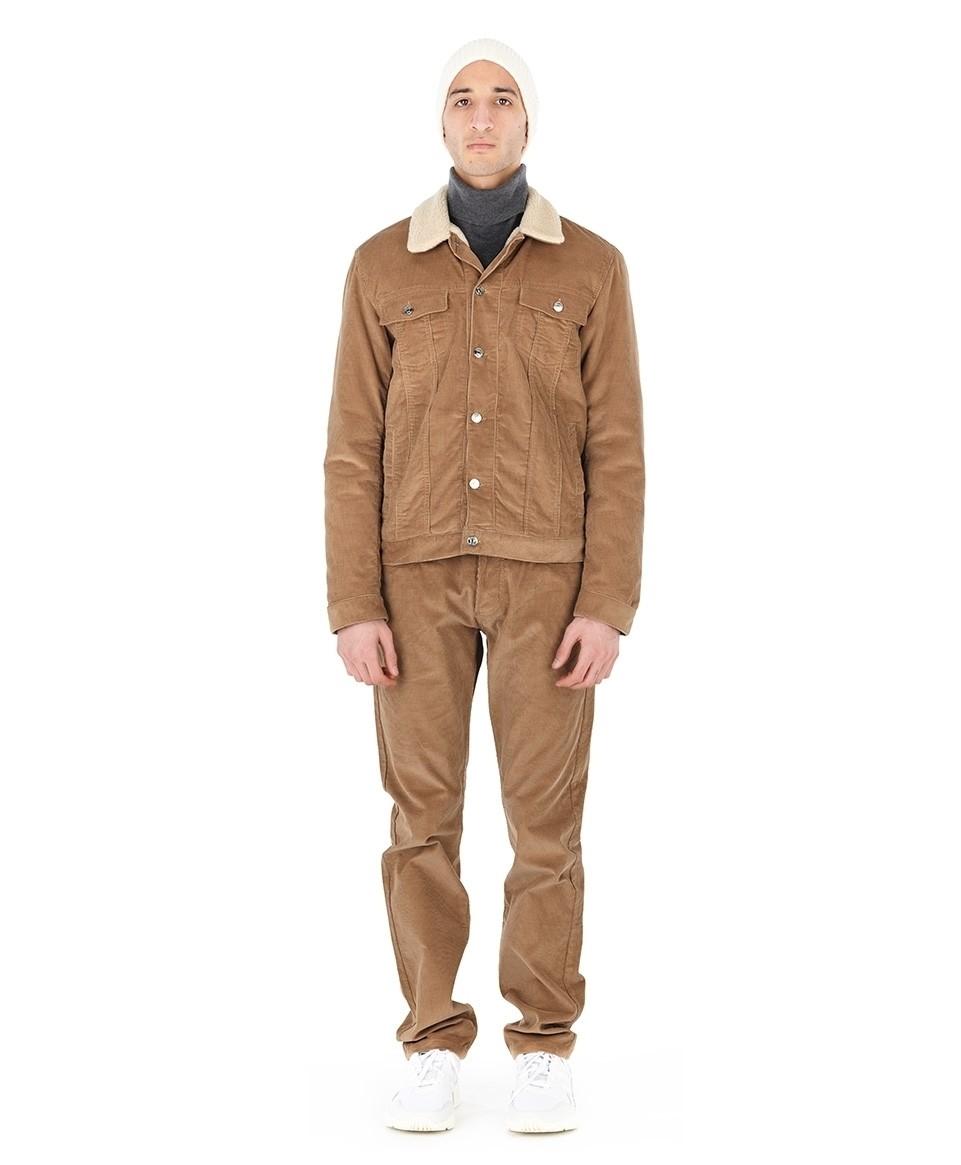 Corduroy jacket with fur