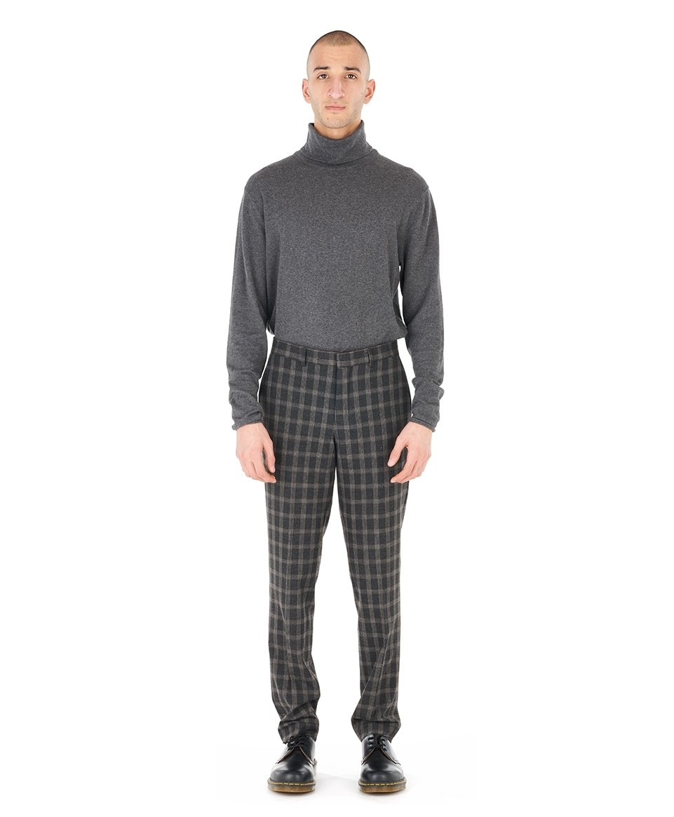 Checked Straight Pants
